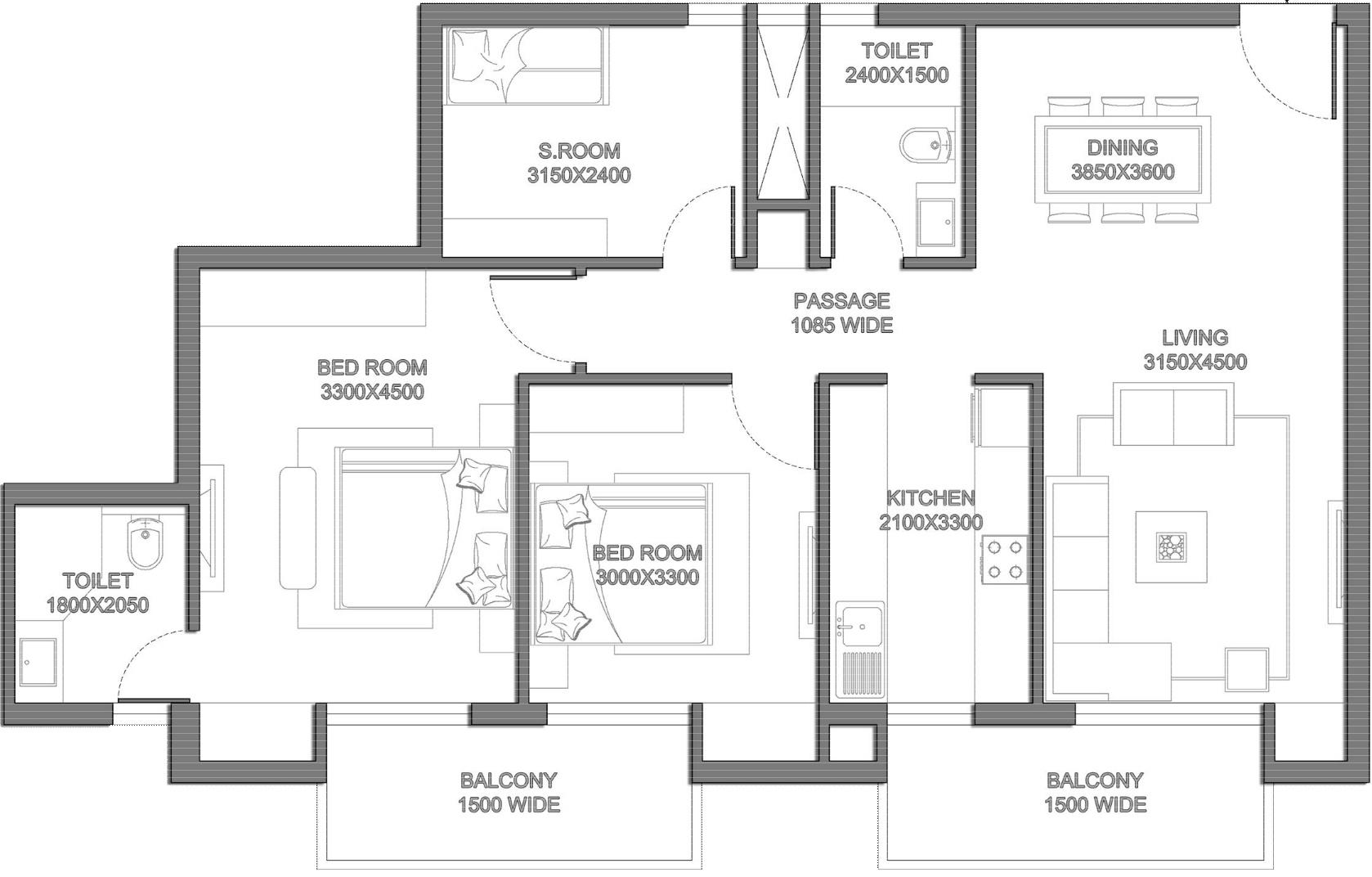 1300 Sq Ft 2 Bhk 2t Apartment For Sale In Saha Meghdutam