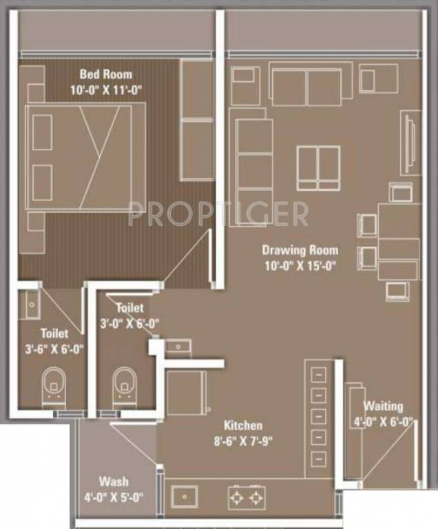 720 Sq Ft Apartment Floor Plan Of 720 Sq Ft 1 Bhk 2t Apartment For Sale In Dharmaja Group