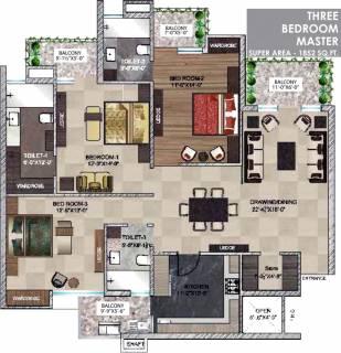 1852 Sq Ft 3 Bhk Floor Plan Image Barnala Builders Maya Garden City Available For Sale Proptiger Com