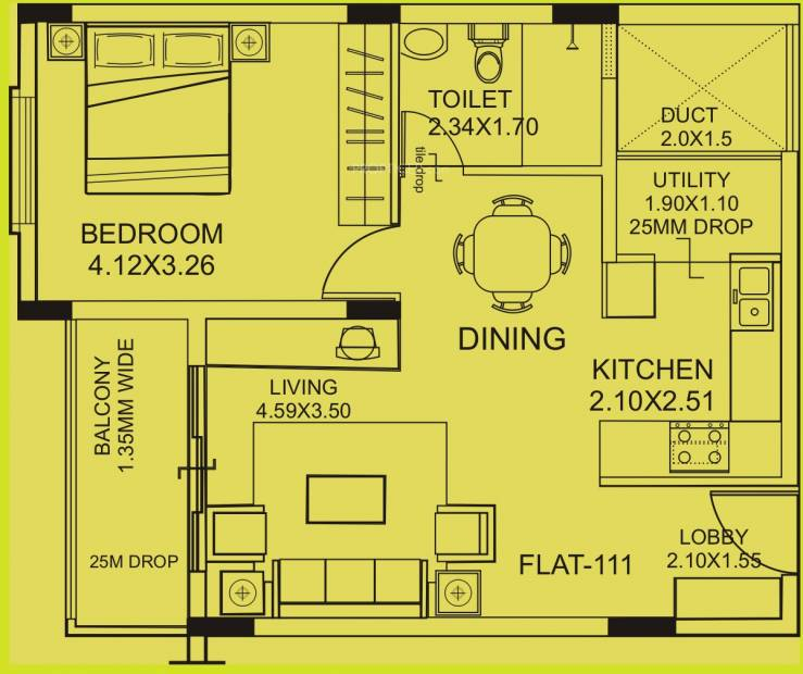 770 sq ft 1 bhk floor plan image mittal builders blossom for 770 plan