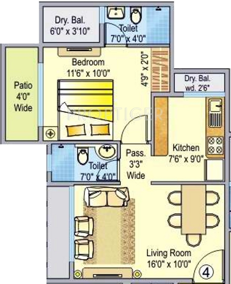 595 Sq Ft 1 Bhk 2t Apartment For Sale In Ajmera Rosemary