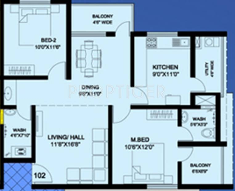 Mahasathi River View (2BHK+2T (1,213 sq ft) 1213 sq ft)