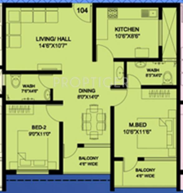 Mahasathi River View (2BHK+2T (1,048 sq ft) 1048 sq ft)