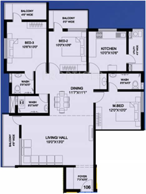 Mahasathi River View (3BHK+3T (1,740 sq ft) 1740 sq ft)