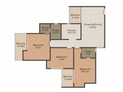 1464 Sq Ft 3 Bhk Floor Plan Image Supertech Eco Village 1 Available For Sale Rs In 40 98 Lacs Proptiger Com
