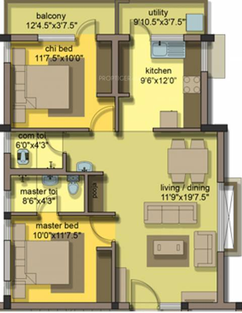 Jeno Gaiblet (2BHK+2T (1,116 sq ft) 1116 sq ft)