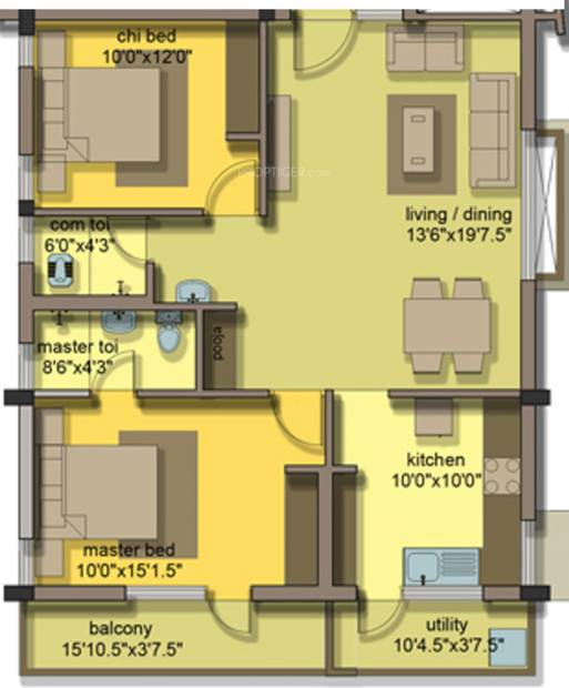 Jeno Gaiblet (2BHK+2T (1,025 sq ft) 1025 sq ft)