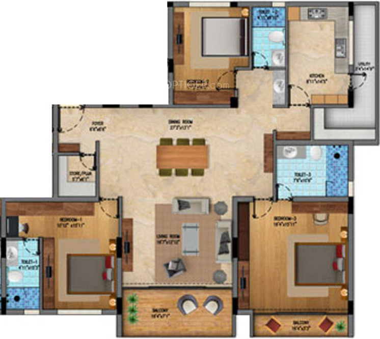 2500 sq ft 3 bhk 3t apartment for sale in vista spaces for Apartment floor plans 2500 sq ft