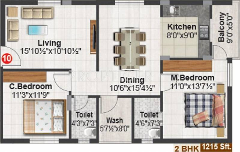 Shubham Builders and Developers Blooms (2BHK+2T (1,215 sq ft) 1215 sq ft)