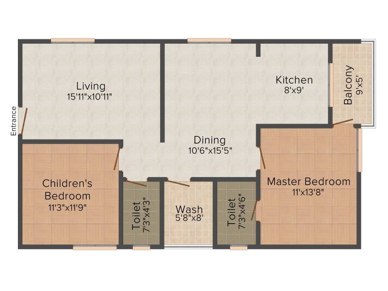 Shubham Builders and Developers Blooms 2BHK+2T (1,225 sq ft)