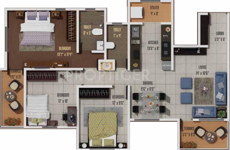 Atul Nilaya (2BHK+2T (1,368 sq ft)   Study Room 1368 sq ft)