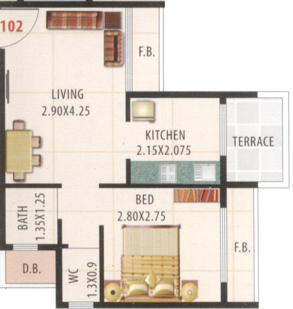 640 Sq Ft 1 Bhk 2t Apartment For Sale In Shree Hari Group