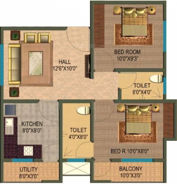 Rotson Nest II (2BHK+2T (840 sq ft) 840 sq ft)