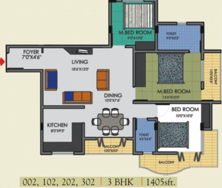 Rotson Sai Pride (3BHK+2T (1,405 sq ft) 1405 sq ft)