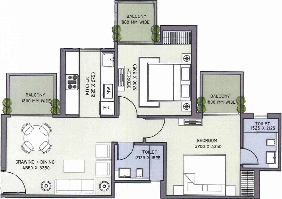 1000 Sq Ft 2 Bhk 2t Apartment For Sale In Supertech Azalia