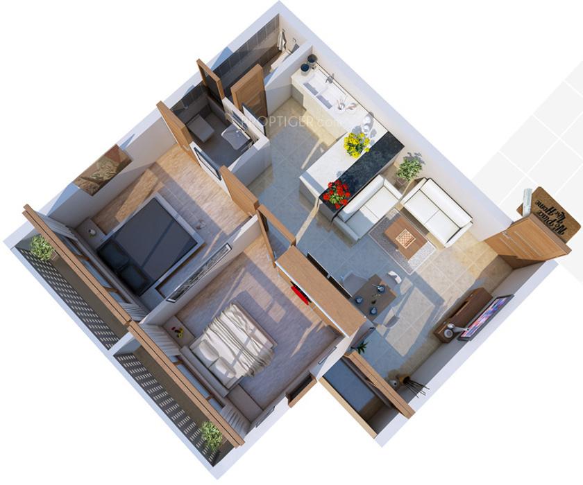 720 Sq Ft Apartment Floor Plan Of 720 Sq Ft 2 Bhk 2t Apartment For Sale In Aaran Hifi25