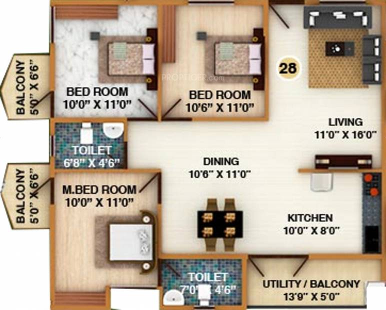 DS Silver Oak (3BHK+2T (1,460 sq ft) 1460 sq ft)