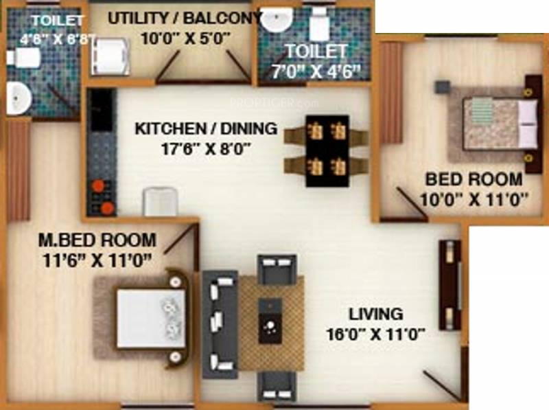 DS Silver Oak (2BHK+2T (1,092 sq ft) 1092 sq ft)