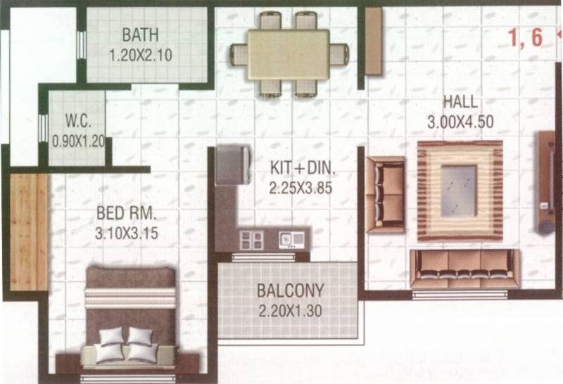 Bhamare Darpan Heights (1BHK+1T (560 sq ft) 560 sq ft)