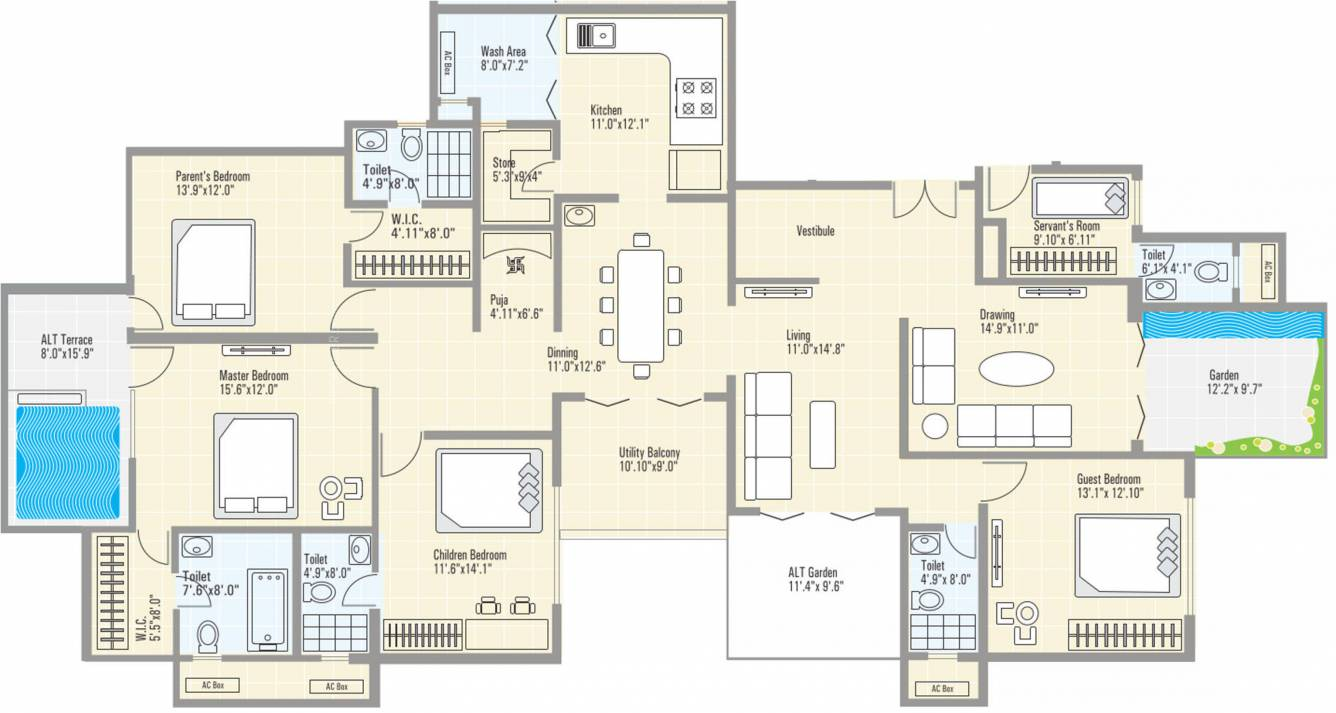 3315 sq ft 4 bhk 5t apartment for sale in ramdeo realtors for Floor plans for realtors