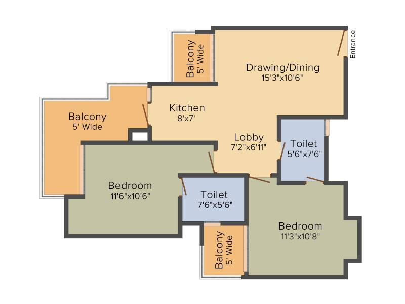 Ace City (2BHK+2T (1,150 sq ft) 1150 sq ft)
