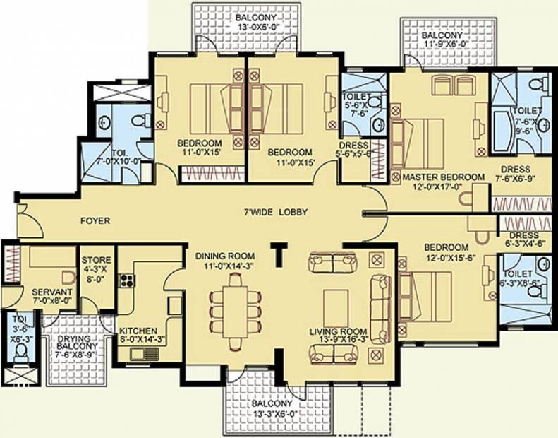 Satya The Legend (4BHK+5T (2,948 sq ft)   Servant Room 2948 sq ft)