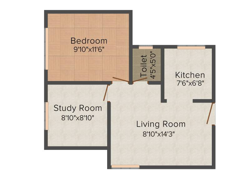 Mahindra Nova (1BHK+1T (612 sq ft) + Study Room 612 sq ft)