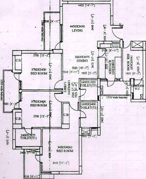 Vipul Gardens (3BHK+3T (1,756 sq ft) + Servant Room 1756 sq ft)