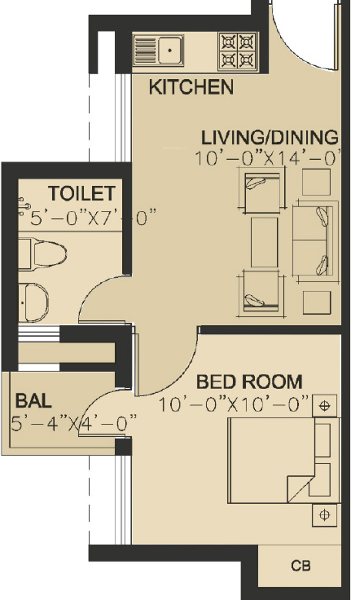 485 sq ft 1 bhk 1t apartment for sale in hero realty for Holiday home builders floor plans