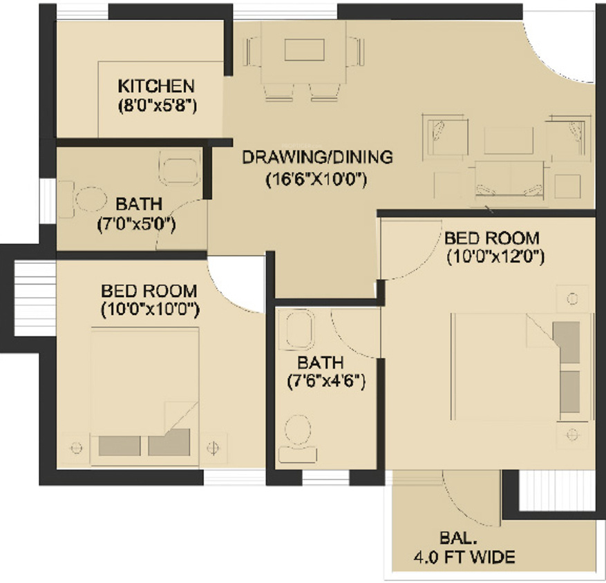 775 sq ft 2 bhk 2t apartment for sale in hero realty for Holiday home builders floor plans