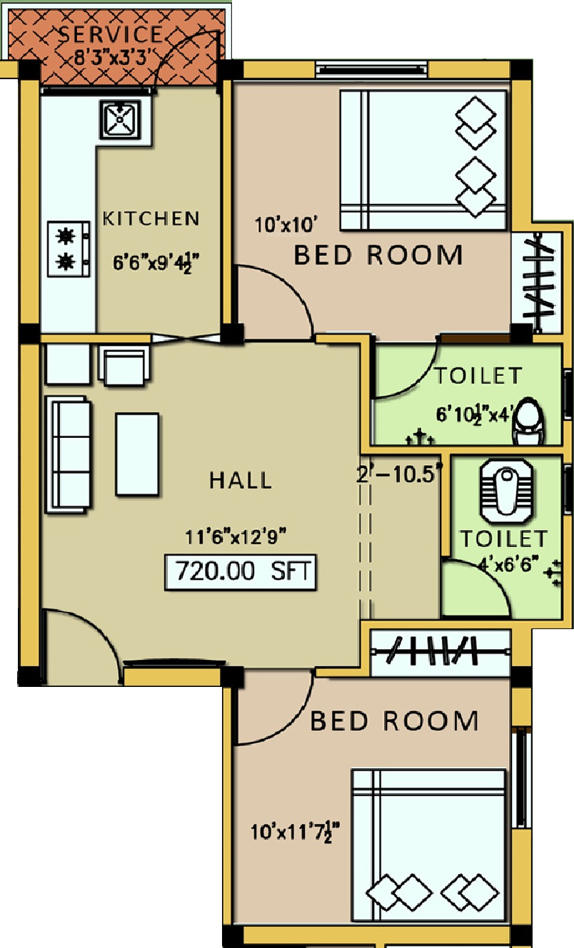 720 sq ft 2 bhk 2t apartment for sale in silicon realty kl for 720 sq ft apartment floor plan