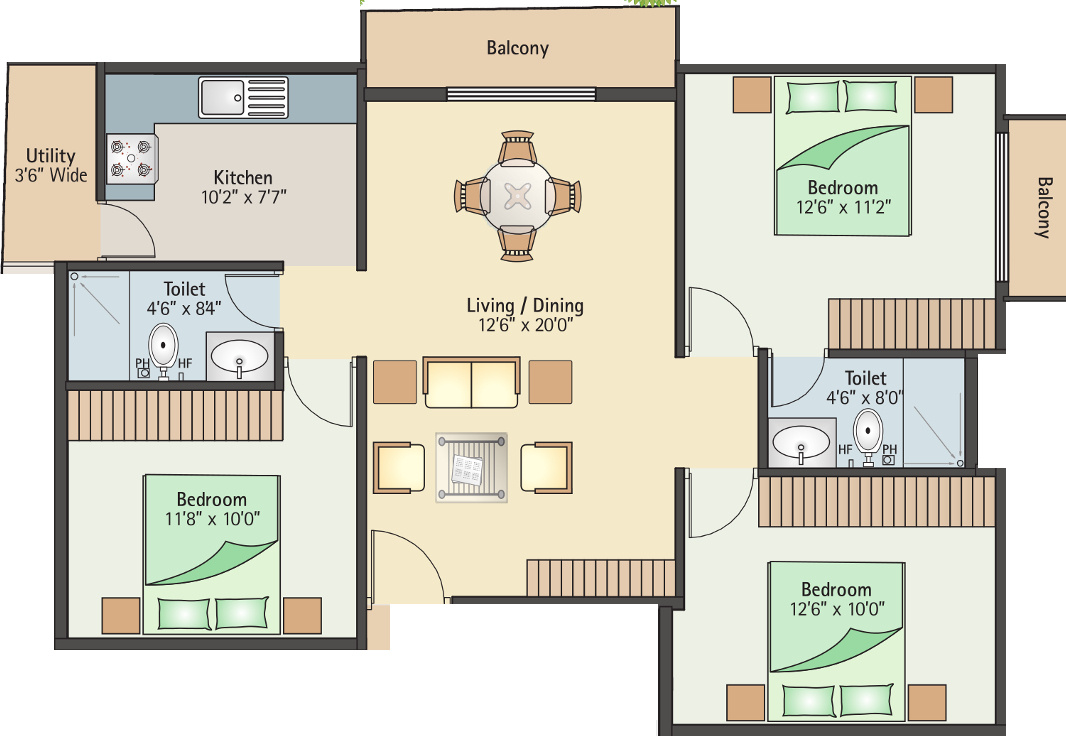 1200 sq ft 3 bhk 2t apartment for sale in bhumika builders for 1200 sq ft apartment floor plans