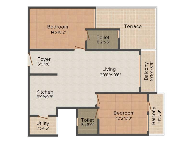 CMRS Royal Orchid (2BHK+2T (1,215 sq ft) 1215 sq ft)