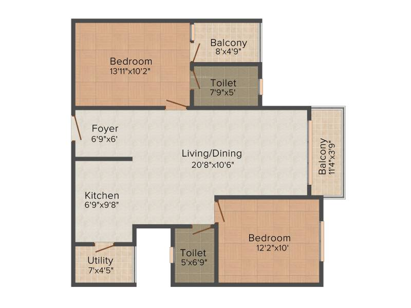 CMRS Royal Orchid (2BHK+2T (1,148 sq ft) 1148 sq ft)