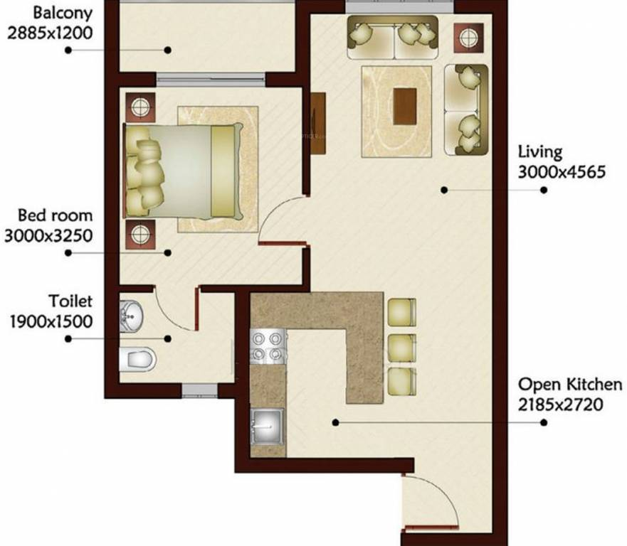 675 sq ft 1 bhk 1t apartment for sale in prominare homes for 675 sq ft floor plan
