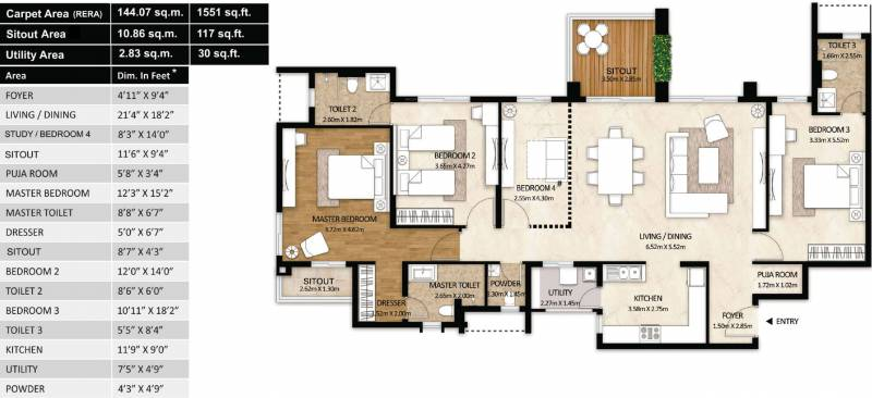 Mahindra Windchimes (3BHK+4T (2,370 sq ft) + Study Room 2370 sq ft)