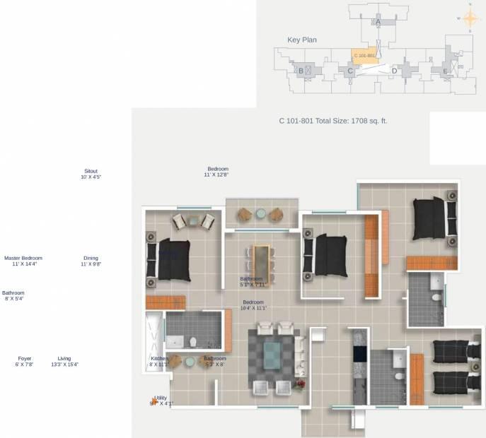 Cumins Genesis (4BHK+4T (1,708 sq ft) 1708 sq ft)