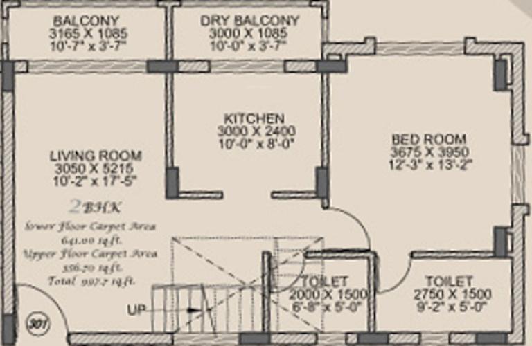 Remus Postcard Portico Apartments (2BHK+2T (1,346 sq ft) 1346 sq ft)