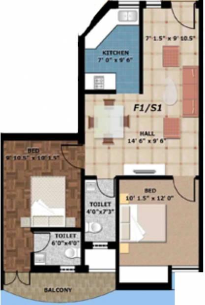 Essen Casa La Paz (2BHK+2T (855 sq ft) 855 sq ft)