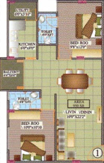 Dream Home Builders And Developers Nest (2BHK+2T (950 sq ft) 950 sq ft)