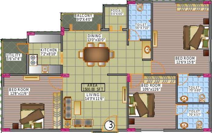 Dream Home Builders And Developers Nest (3BHK+3T (1,500 sq ft)   Pooja Room 1500 sq ft)