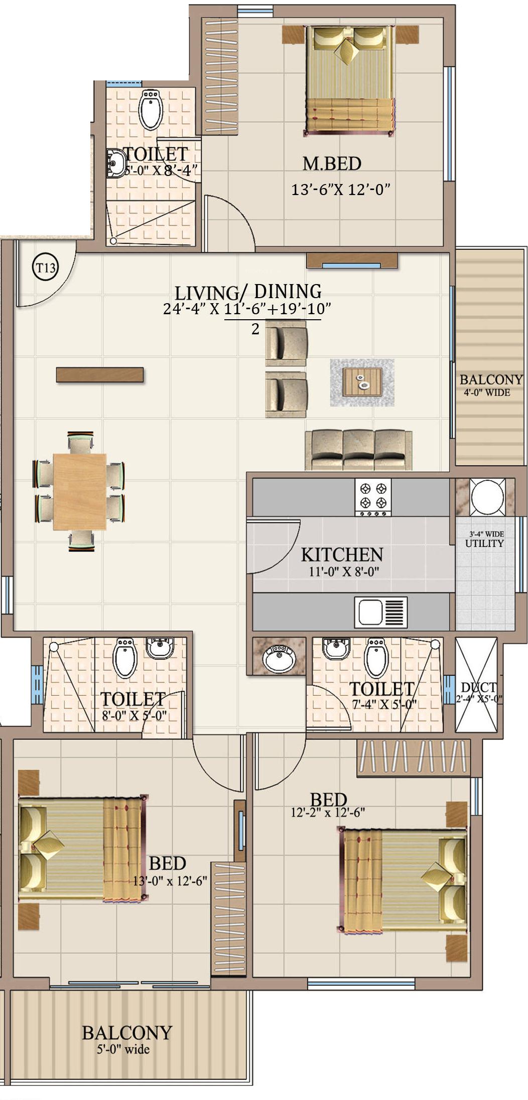 1300 Sq Ft 3 Bhk 3t Apartment For Sale In Ahad Euphoria