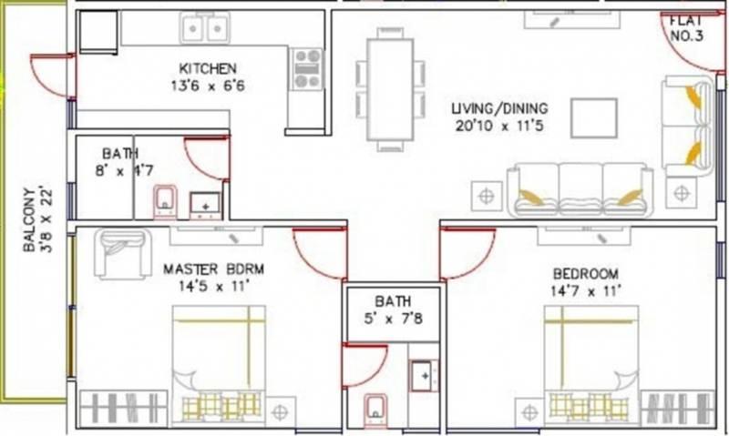 Estella Ornate (2BHK+2T (1,056 sq ft) 1056 sq ft)