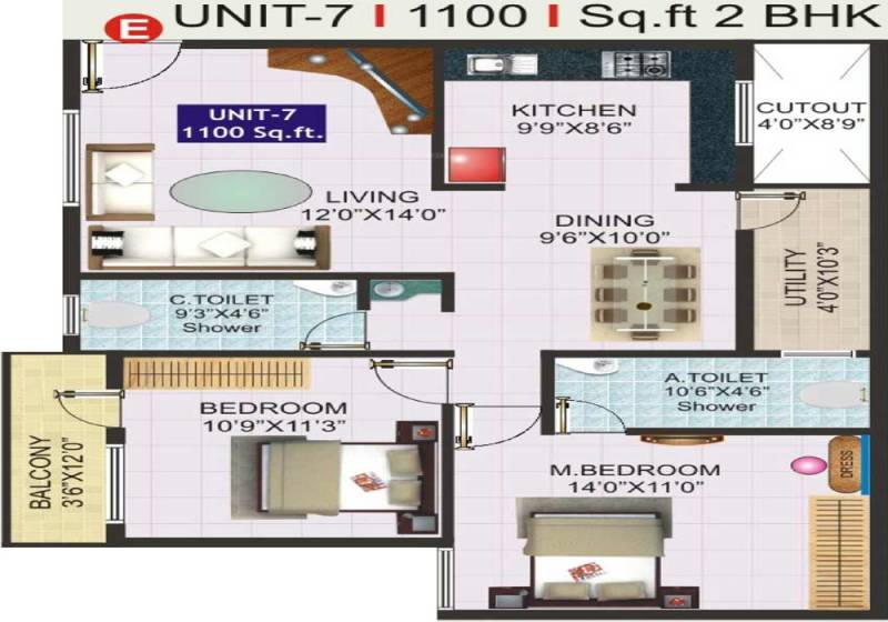1100 sq ft 2 bhk floor plan image sri vani symphony for 1100 sq ft apartment floor plan