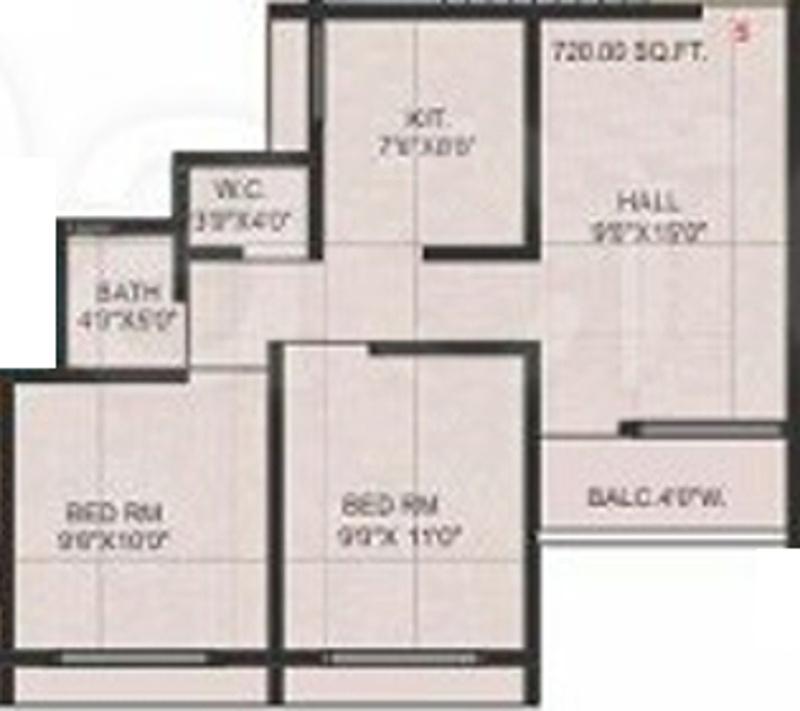 720 sq ft 2 bhk 2t apartment for sale in jai malhar anandi for 720 sq ft apartment floor plan
