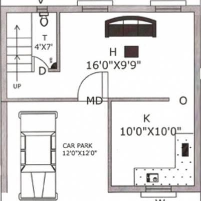 1053 sq ft 2 bhk 3t villa for sale in rajeswari for 4 bhk house plan ground floor