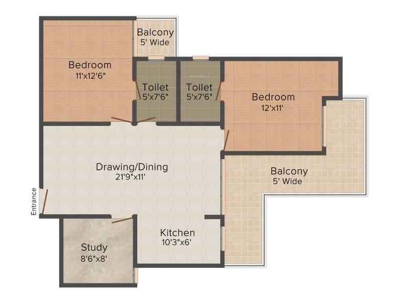 Saviour Myra (2BHK+2T (1,235 sq ft)   Study Room 1235 sq ft)