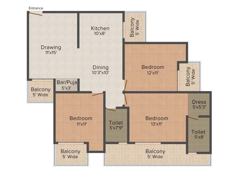 Saviour Myra (3BHK+2T (1,535 sq ft)   Pooja Room 1535 sq ft)