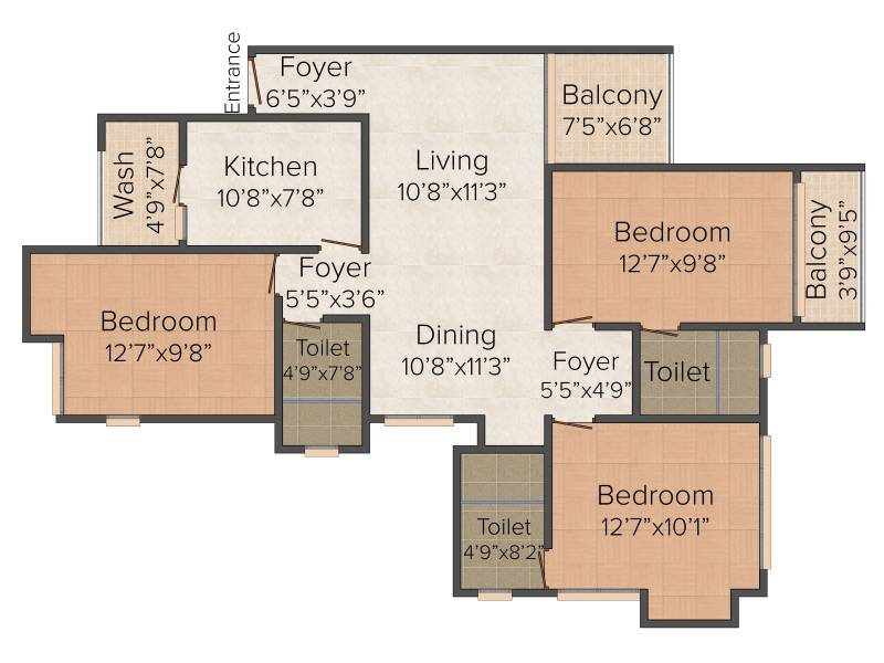 Si Levantine Heights (3BHK+3T (1,533 sq ft) 1533 sq ft)