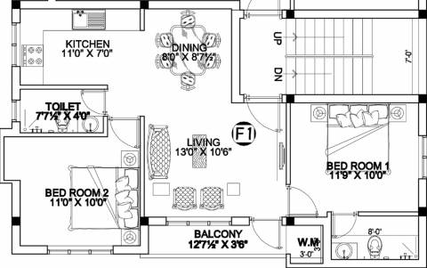 905 sq ft 2 BHK Floor Plan Image - MS Charan MM Oasis Phase